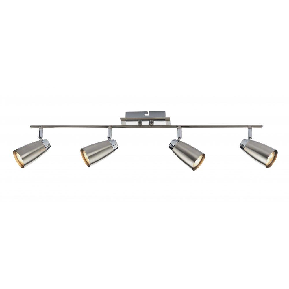 Contemporary satin chrome 4 light ceiling spotlight bar low energy loft 4 light ceiling spot light bar satin chrome finish aloadofball Choice Image