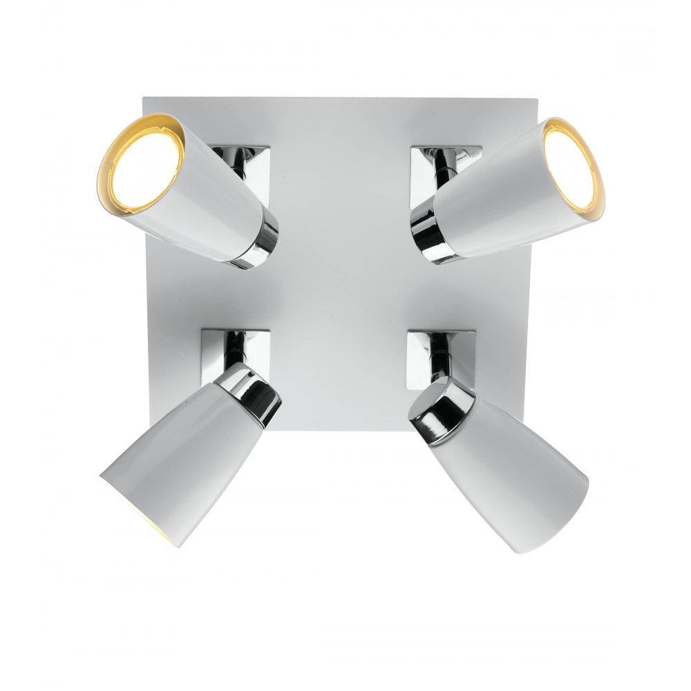 Modern 4 light ceiling spotlight cluster in white chrome loft low energy square white ceiling spotlight cluster aloadofball Choice Image
