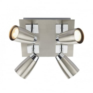 LOFT - Satin Chrome Square Plate Ceiling Spot Lights 4 Light