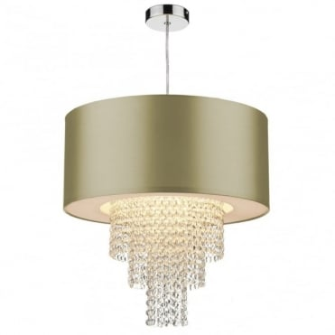 LOPEZ - Easy Fit Non Electric Gold Faux Silk Ceiling Light Shade