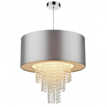 LOPEZ - Easy Fit Silver Faux Silk Ceiling Light Shade
