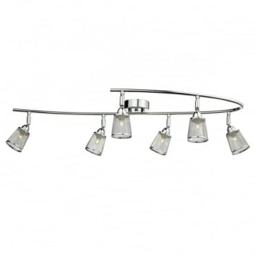 LOWELL - 6 Light Semi Flush Ceiling Polished Chrome With Mesh Shade