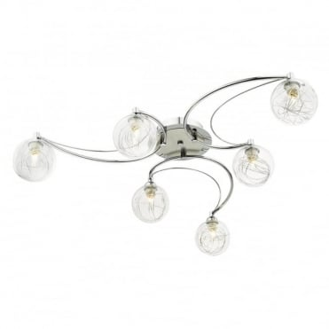 LOZANNE - 6 Light Semi Flush Ceiling Polished Chrome And Satin