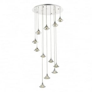 LUTHER - 12 Light Spiral Ceiling Pendant Polished Chrome And Clear