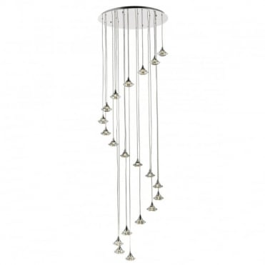 LUTHER - 20 Light Spiral Ceiling Pendant Polished Chrome And Clear