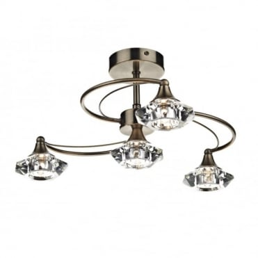 LUTHER - Antique Brass and Crystal Glass Semi Flush Ceiling Ceiling Light