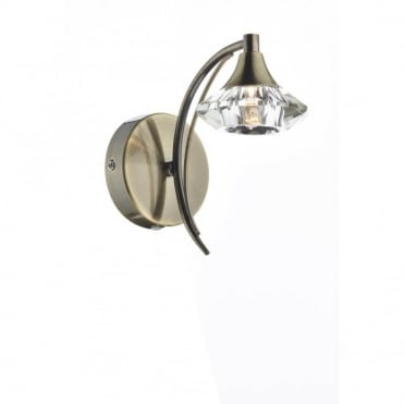 LUTHER - Antique Brass and Crystal Glass Single Wall Light