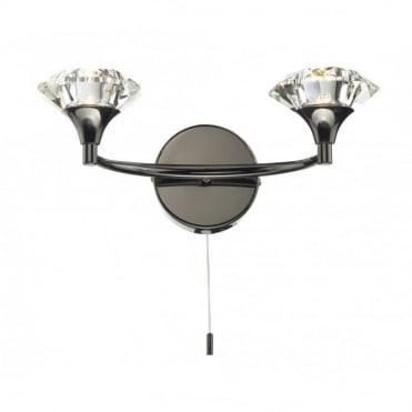 LUTHER - Black Chrome and Crystal Glass Double Wall Light
