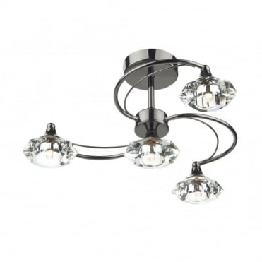 LUTHER - Black Chrome and Crystal Glass Semi Flush Ceiling Ceiling Light