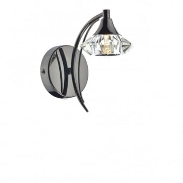LUTHER - Black Chrome and Crystal Glass Single Wall Light