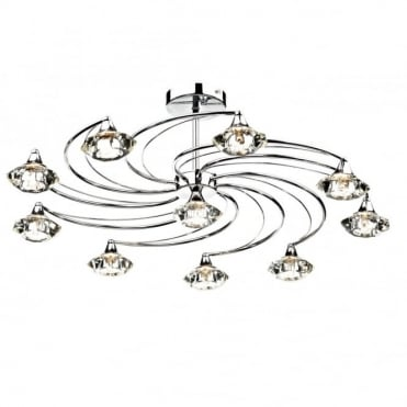 LUTHER - Large Polished Chrome 10 Arm Semi-Flush Ceiling Light