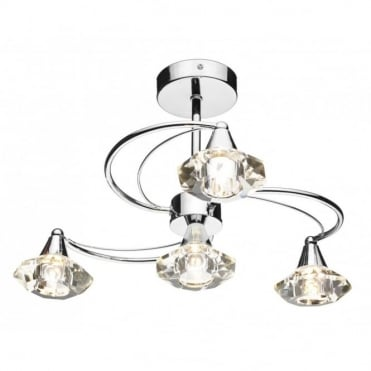 LUTHER - Polished Chrome 4 Arm Semi-Flush Ceiling Light