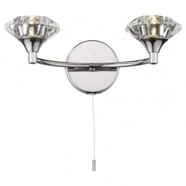 LUTHER - Polished Chrome and Crystal Glass Double Wall Light