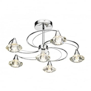LUTHER - Polished Chrome and Crystal Glass Semi Flush Ceiling Ceiling Light 6 Light