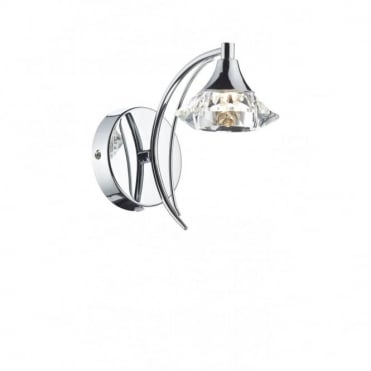 LUTHER - Polished Chrome and Crystal Glass Single Wall Light