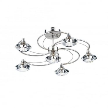 LUTHER - Satin Chrome and Crystal Glass Semi Flush Ceiling Ceiling Light 6 Light