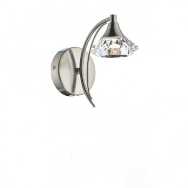 LUTHER - Satin Chrome and Crystal Glass Single Wall Light