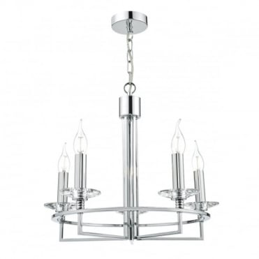 LUZERN - 5 Light Ceiling Pendant Polished Chrome Clear Polished Chrome