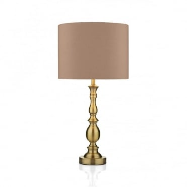 MADRID - Antique Brass Table Lamp and Gold Shade