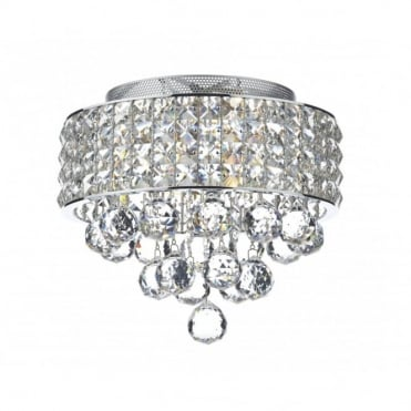 MATRIX - 3 Light Flush Ceiling Chrome and Crystal Glass Ceiling Light