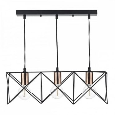 MIDI - 3 Light Bar Ceiling Pendant Black
