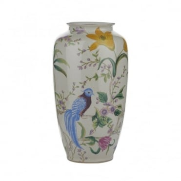 MIMOSA - Ceramic Vase With Floral And Bird Design