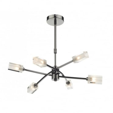 MORGAN - 6 Light Black Chrome Ceiling Pendant Light