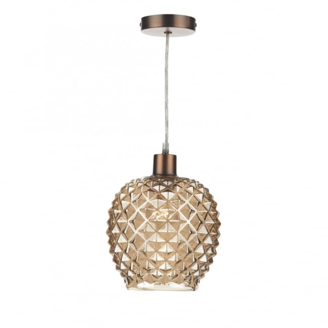 Decorative Diagonal Cut Champagne Glass Ceiling Pendant Shade