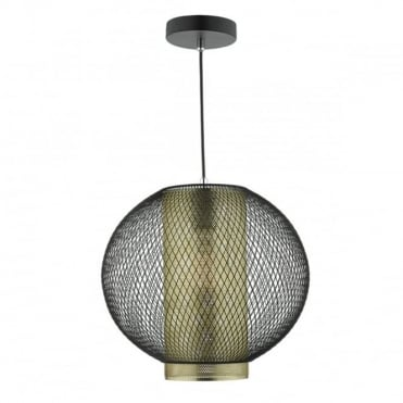 NIELLO - 1 Light Ceiling Pendant Matt Black Brushed Brass Black