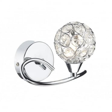 NUCLEUS - Polished Chrome Wall Light With Crystal Shade