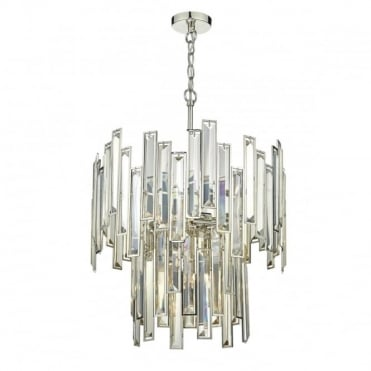 ODILE - 6 Light 2 Tier Ceiling Pendant Champagne Gold Crystal Polished Nickel