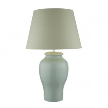 OONAGH - Table Lamp Pale Blue Complete With Shade Ceramic