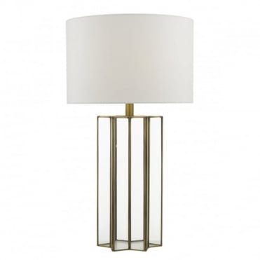 OSUNA - Multi Faceted Glass Table Lamp With Brass Frame Complete With Shade