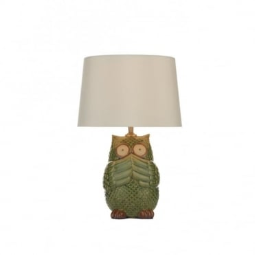 OWL - Ceramic Green Table Lamp With Shade