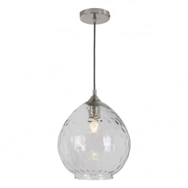 PECHARA 1 Light Pendant Large Polished Nickel Dimpled Glass