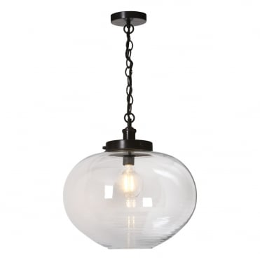 PELIOS 1 Light Pendant Bronze Clear Ribbed Glass