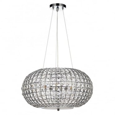 PLAZA - Crystal And Chrome Modern Chandelier Ceiling Pendant