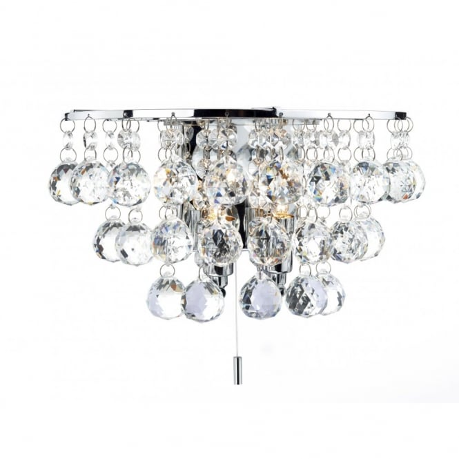 Double Insulated Crystal Wall Lights : Decorative Wall Light in Polished Chrome with Crystal Droplets