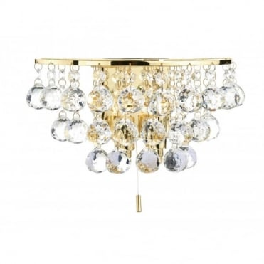 PLUTO - Double Insulated Gold Brass Crystal Wall Light