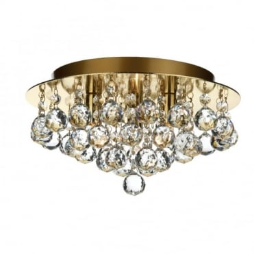 PLUTO - Gold Brass Low Ceiling Crystal Chandelier