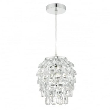 PRIMROSE - Easy Fit Ceiling Shade In Polished Chrome With Acrylic Drops