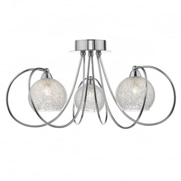 RAFFERTY - 3 Light Semi-Flush Ceiling Light Glass And Crystals