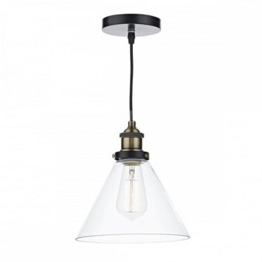 RAY - 1 Light Ceiling Pendant Antique BrassClear