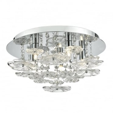 ROCHELLE - 5 Light Flush Ceiling Polished Chrome Clear Polished Chrome