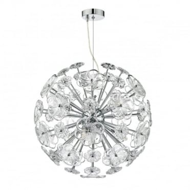 ROCHELLE - 9 Light Ceiling Pendant Polished Chrome Clear Polished Chrome