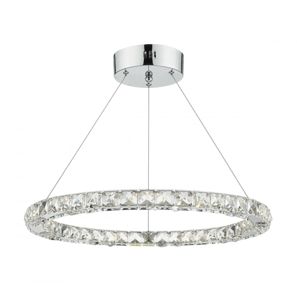 Contemporary led ceiling light hoop chrome lighting and lights uk roma led single tier ceiling pendant crystal polished chrome led dimmable polished chrome mozeypictures Image collections