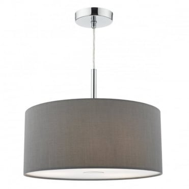 RONDA - 3 Light Ceiling Pendant 40Cm Drum Grey Faux Silk Grey