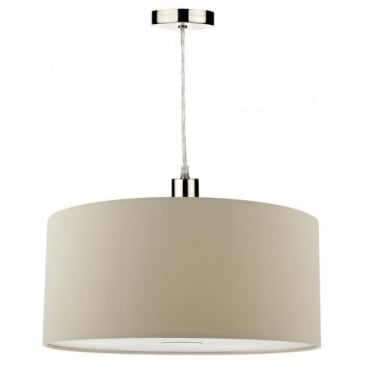 RONDA - Easy Fit 40Cm Faux Silk Taupe Drum Shade Taupe