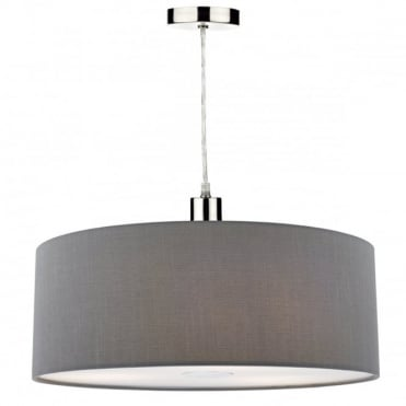 RONDA - Easy Fit 60Cm Faux Silk Grey Drum Shade Grey