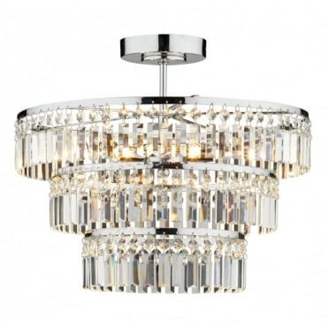 ROWENA - Small Chrome and Crystal Chandelier For Low Ceilings